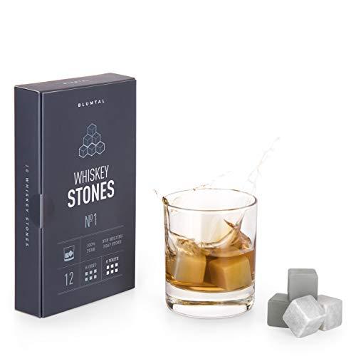 Blumtal Whisky-Steine aus Speckstein, geruchs- und geschmacksneutral, 12er Set Kühlsteine in grau und weiß