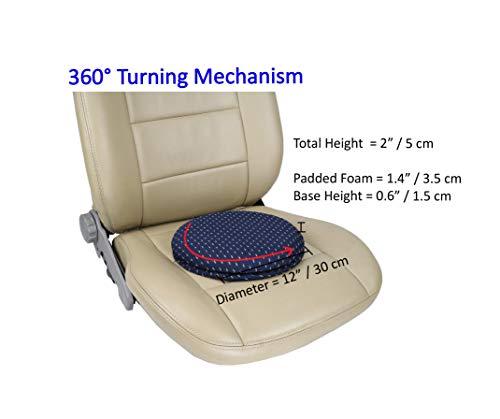 ObboMed SS-2710N 360° Rotierendes Drehbares Sitzkissen für Autositze mit Holzkörper, Schampolster und Waschbarem Bezug, Einfache Drehung im Sitz - 30 x 5 (H) cm