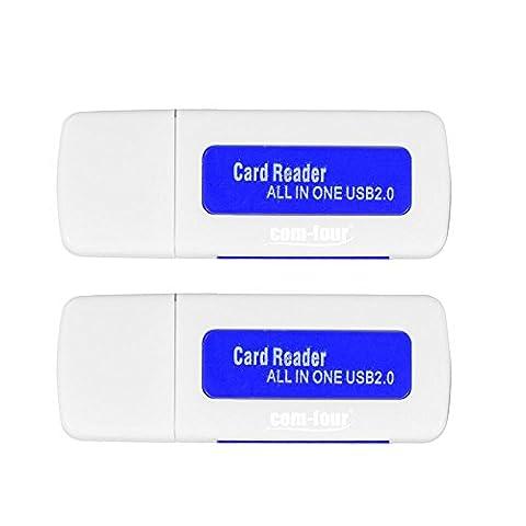 Com-Four Clé USB 2.0All in One Lecteur de carte SD Micro SDHC MS M2TF Mini SD MS PRO 2er Set: Weiß/Blau