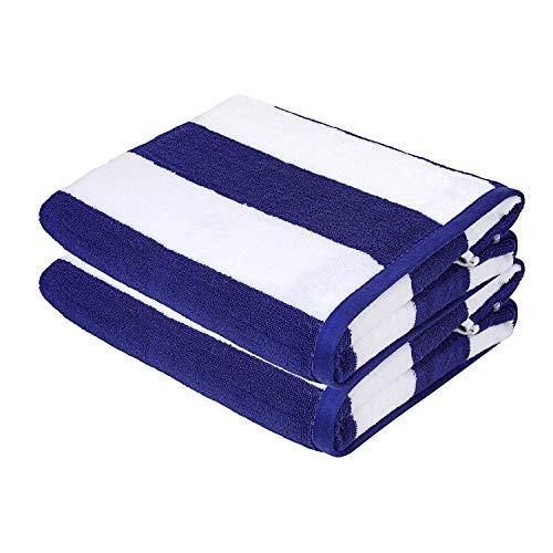 Asciugamani da spiaggia sweet needle - asciugamani da spiaggia blu reale di qualità premium - confezione da 2 (76x152 cm) - 100% cotone ringspun, pesante (450 gsm) e altamente assorbente