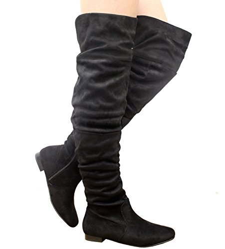 Saute Styles , Bottes cuissardes femme Black Suede Slouch