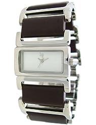 Lip - 10825222 - Montre Femme Acier - Quartz Analogique - Cadran Blanc - Bracelet Acier et Plastique Marron