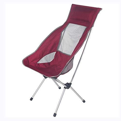 Gchf sedia da esterno ultraleggera sedia da pesca portatile sedia da regista sedia da luna sedia da spiaggia reclinabile in alluminio reclinabile (colore : red)