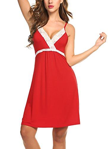 BeautyUU Damen Negligee V-Ausschnitt Nachtkleid Nachthemd Spitze Nachtwäsche Sleepwear mit Spitze