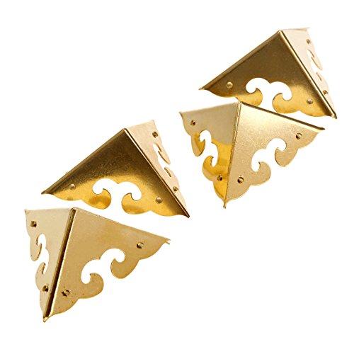 4Pcs Dekorative Ecke Schutz für Möbel Schrank Schmuck Box 4,5*4,5*4,5cm Retro Messing, Brass -