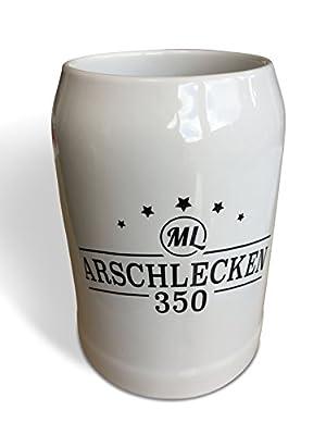 Geschenkset Bierkrug Arschlecken 350 Original ML & 3 x Bier Helles in 0,33 Liter Flasche Alc.5,2% vol.