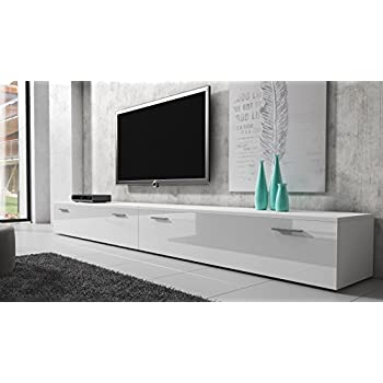 tv m bel lowboard schrank st nder boston korpus wei front wei hochglanz 300 cm. Black Bedroom Furniture Sets. Home Design Ideas