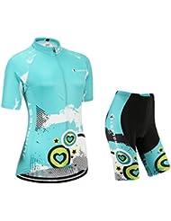 [Cojín 3D][traje tamaño:L] ropa manga rompevientos rendimiento de para los chaleco maillot mujer transpirable Jerseys corta ciclismo