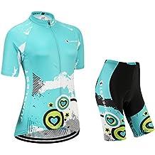 [Cuscino 3D][Tipo:Set taglie:M] manica antivento corta Ciclismo prestazioni donna Per Maglia traspirante Jerseys traspirazione gilet