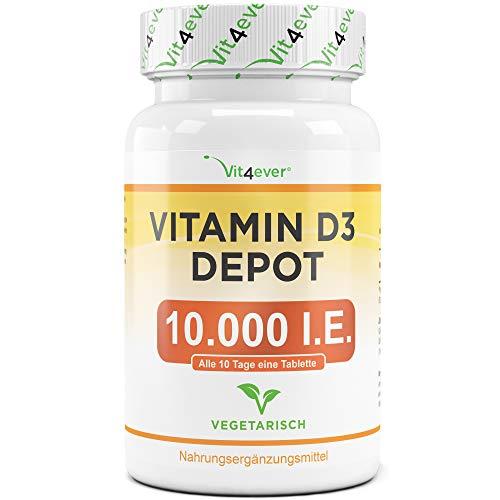 Vit4ever® Vitamin D3 10.000 I.E. Depot 365 Tabletten - Hochdosiert - Vegetarisch - 10 Tagesdosis 1000 I.E. pro Tag - Vitamin D - Alle 10 Tage eine Tablette - Premium Qualität (D-vitamin-tabletten)