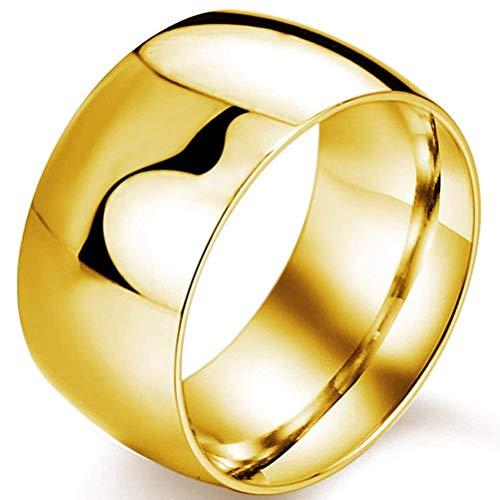 XBYBEI Mens 12mm Classic Gold Hochzeits Verpflichtungs 316L Edelstahl Ring Haube hoch poliert Band