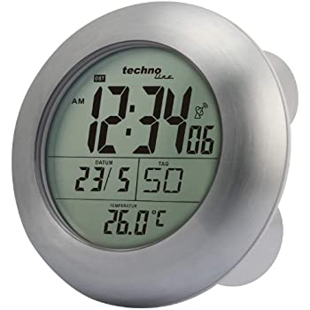 Technoline Radio Controlled Wall Clock, Aluminum, Silver