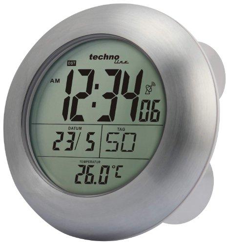 Technoline WT 3000 Horloge de salle de bains radio-pilotée en aluminium