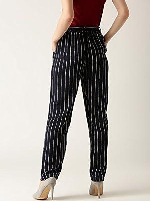 Marie Claire Women Navy & White Original Fit Striped Peg Trousers (MC688)