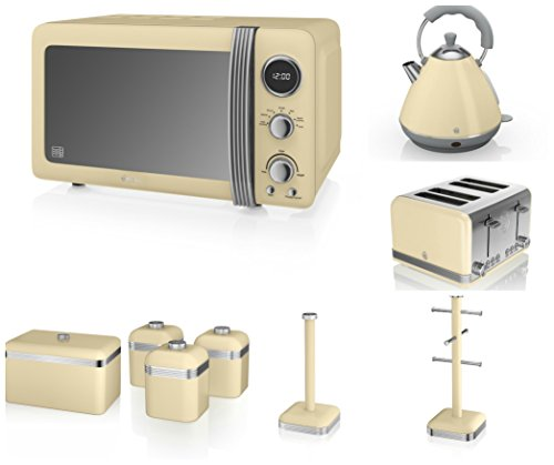 Swan Cream Kitchen Appliance Retro Set Of 9 - Retro Digital Microwave, 20 Litre, 800 Watt, Cream 2 Litre Pyramid Kettle & Retro Stylish 4 Slice Toaster, Retro Bread Bin, 3 Canisters, Towel Pole And 6 Mug Tree Set