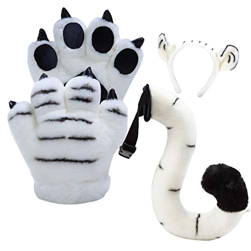 LANFIRE Flauschige künstliche Tiger und Dinosaurier Paw Handschuhe, Stirnband und Schwanz Kostüme Cosplay Tiger oder Dinosaurier Party Kostüm für Kinder (White tiger 4 PCS) (White Tiger Kostüm Zubehör)
