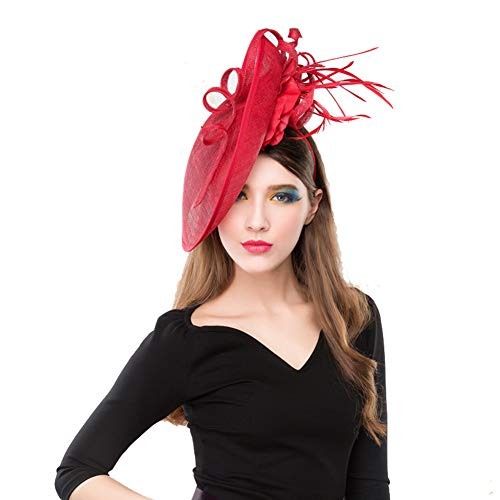 XJYA Blumendekor Haarklammer Hanf-Feder Fascinator Englische Kleidung Mini Zylinderhut Für Frauen (Rot)
