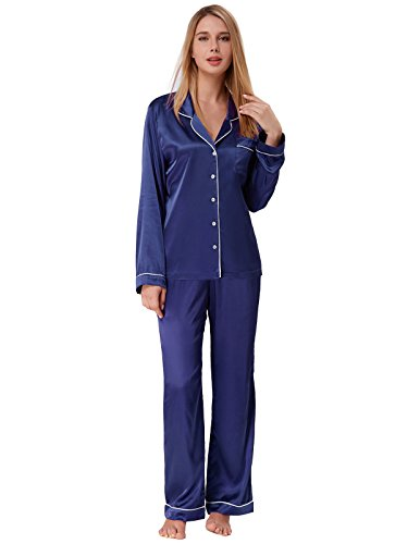 Zexxxy Frauen Satin Pyjamas Lange Button-Down Kerbe Kragen Pj Set Marineblau Größe L - Button-down Pj Set