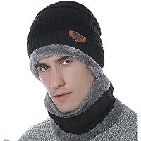 43c6a25ac797 SZSMART Bonnet Chapeau Chaud Tricot et Écharpe avec Doublure Polaire Hiver  Homme Femme Chapeau Beanie Chaud
