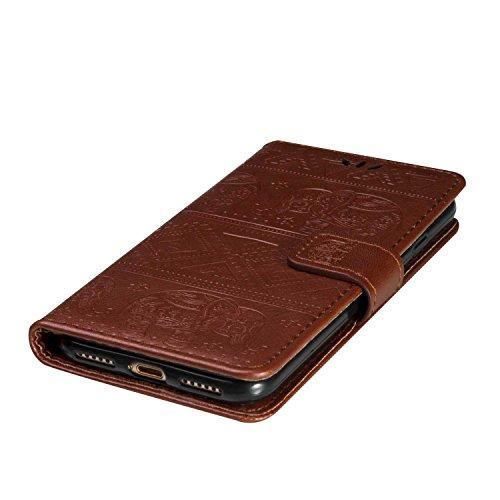 iPhone 7 Coque, BoxTii® Housse Etui en Ciur avec Stand et Porte Cartes [avec Gratuit Protection D'écran en Verre Trempé], Antichoc Protection Coque Cover Case pour Apple iPhone 7 (#1 Or Rose) #3 Brun
