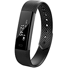 Fitness Activity tracker, Accevo Braccialetto intelligente con chiamata Remind Remote autoscatto Calorie Counter Sport sonno Activity Monitor Tracker Per iOS Android Phone (Nero)