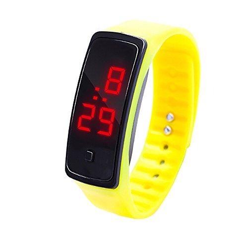 Zolimx Damen Herren Sport Uhr Gummi LED Digital Display Armbanduhr Kinder Studenten Silica Gel Sportuhr (Gelb)