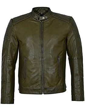 1829-B verde oliva Cool Retro Biker Style chaqueta de piel de cordero real acolchada suave