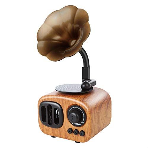 Retro Trompete Stil Bluetooth Lautsprecher Wireless Stereo Subwoofer Spieluhr Holz Lautsprecher Mit Mikrofon Fm Radio Tf Für TelefonGelb