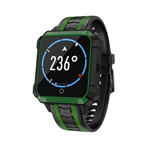 JingJingQiBraccialetto intelligente H7 Smart Watch Phone 4G Android 6.0 1G + 8G WiFi GPS SIM Sport Smartwatch 5.0 MP Fotocamera Voice Translate Orologio da polso Uomo Donna, Verde