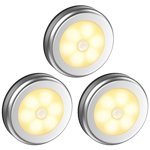 Oria Nachtlicht mit Bewegungsmelder, 6 LED Bewegungsmelder Licht, Schrankleuchten, Auto EIN/AUS Bewegungsmelder Innen Batterie, Magnetisch Sensor Licht für Garderobe, Treppen, Küche, etc-Warmes Weiß