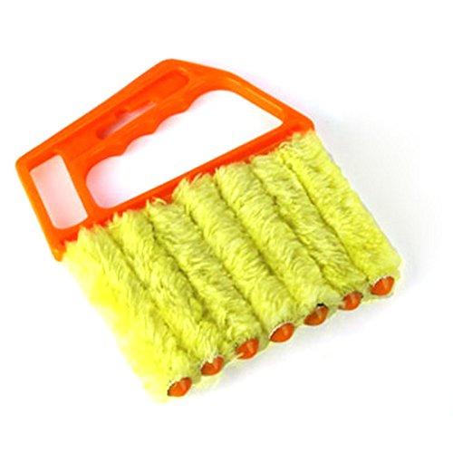 7Pinsel Jalousie reinigen Staub von Lamellen miniduster waschbar einfach für die meisten Arten von Jalousien und Shutter Mini-Blind Cleaner Orange