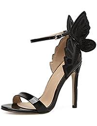 35807557028b5 Inconnu Sandales Talons Hauts Aiguille Escarpin Bout Ouvert Bride Cheville  Papillon Chaussures Femmes