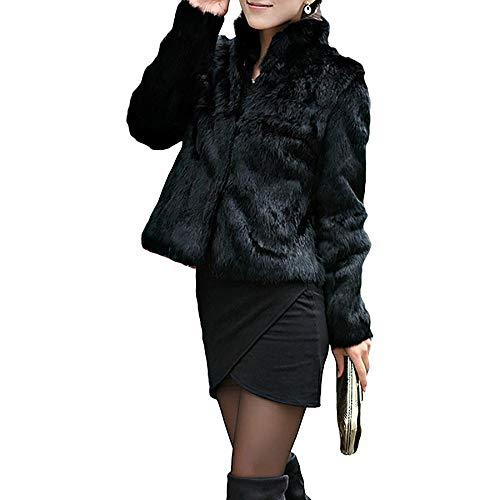 YYW - Abrigo de Invierno para Mujer, de Pelo sintético, Color Negro Negro Negro L