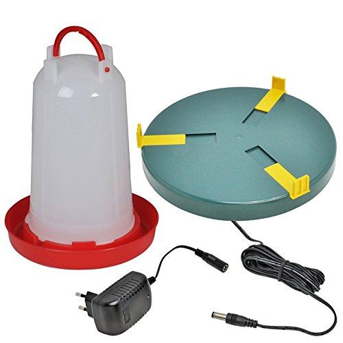 Geflügeltränke mit Bajonettverschluss 6 Liter + VOSS.eisfrei Tränkenheizplatte -