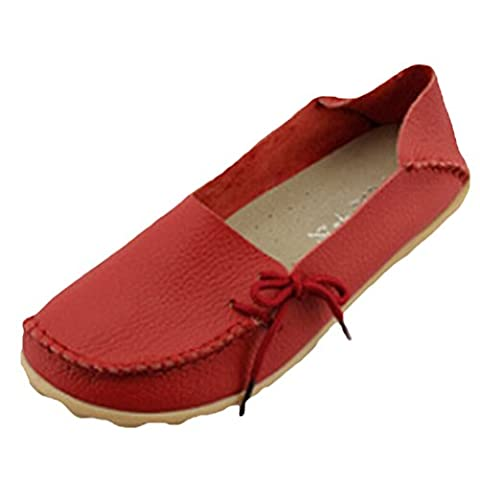Vogstyle Women's Work Comfort Leather Moccasins Loafers Flats Slipper Shoes Style 1-Red 42