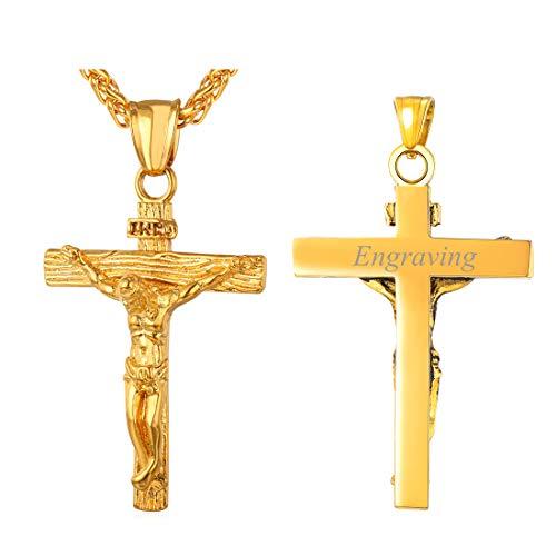 U7 Herren Halskette 18k vergoldet INRI Kruzifix Jesus Christus Anhänger mit 50+5cm Kette Personalisierte Name Vorname Gravur Kreuz Schmuck Geschenk für Männer Jungen, Gold