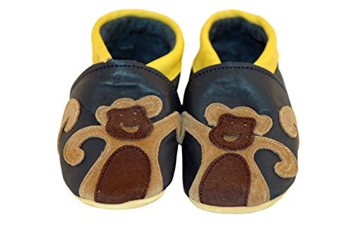 Three Little Imps Handgemachte weiche Kleinkind-Schuhe aus Leder Ð Frecher Affe auf marineblauem Hintergrund 12 - 18m (MKNY) blau