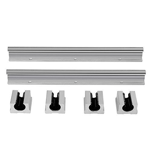 Akozon Linearführung Way Rail Kit Set,Auflageschiene 2 Stücke SBR12 300mm Lineare Gleitschiene Welle+4 Stücke SBR12UU Gleitlager,Vollständig Unterstützt Linear Rail Blocklager für CNC-Maschinen