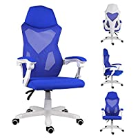 EUCO Computer Desk Chair Ergonomic Office Chair Reclining Comfy Mesh Chair with Padded Arm Swivel Chair In Black/Grey/Blue