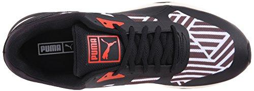 Puma 698 Ignite Stripes Sportstyle Sneaker White-Black-Grenadine