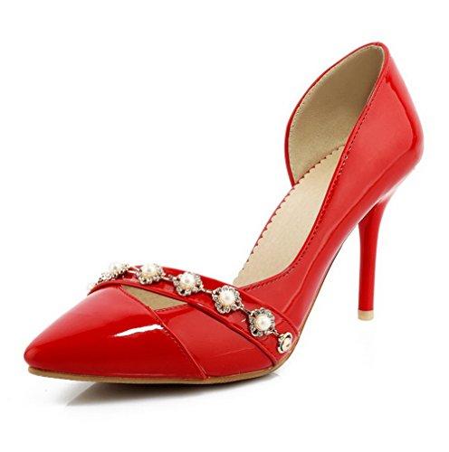 AllhqFashion Femme Verni Pointu à Talon Haut Tire Couleur Unie Chaussures Légeres Rouge