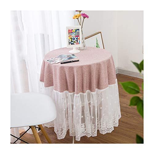 Qiao jin &Tischdecke Kleine Runde Tischdecke Spitze Luxus Haushalt Couchtisch Einfarbig Tischwäsche Dekoration Tischdecken Rosa/Lila/Sand gelb Tischdecken (Farbe : A, größe : Round-160cm)