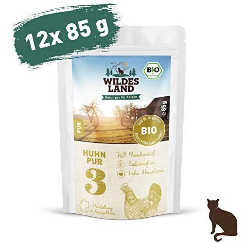 Wildes Land | Nassfutter für Katzen | Nr. 3 Huhn PUR | Bio | 12 x 85 g | Aus kontrolliertem biologischen Anbau | Getreidefrei | Extra viel Fleisch - Futter Napf Hühner