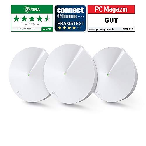TP-Link Deco P7 Hybrid Wifi Mesh con Powerline - Wifi AC1300 + Powerline AV600 - Ideale speciale per la edifici storici con muri spessi - 3 unità fino a 555㎡ - Compatibile Alexa