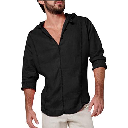 2019 Nouvelle Mode Hommes Coton Lin Casual élégant Chemise Couleur Unie en Vrac Manche Longue Col en V à Capuche Bouton Top Chemise Arrêtez-Vous Chemisier Printemps Eté M-XXXL