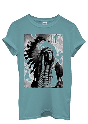 Indians Chief Native Americans Cool Funny Men Women Damen Herren Unisex Top T Shirt Licht Blau