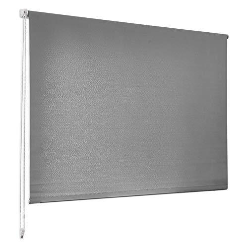 casa pura® Sichtschutzrollo - lichtdurchlässiges Rollo als Sichtschutz am Fenster - Fensterrollo in vielen Größen und Farben | Grau | 80x150cm