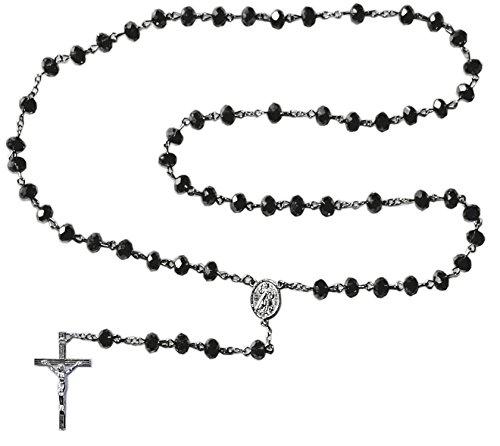 Kaltner Präsente Geschenkidee - Rosenkranz für Damen und Herren mit Kreuz Anhänger Marienbild und Glas Perlen Farbe Schwarz (Länge 74 cm)
