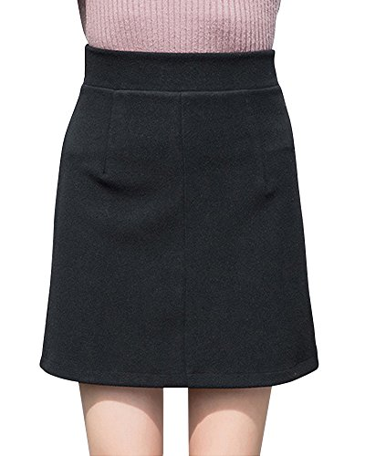 Donna Eleganti Mini Gonna Da Vita Alta Basic Elastica Gonna Nero