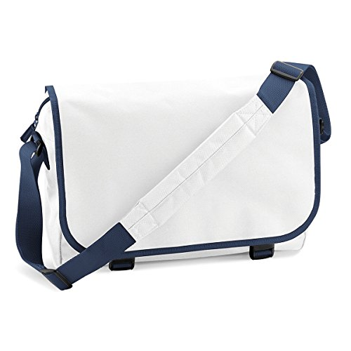 BagBase Unisex Messenger Bag Umhangetasche 38x30x12cm 11L Freizeit White/ French Navy